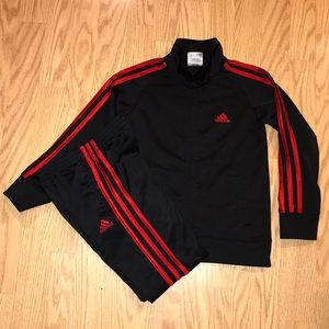 Adidas Black / Red Striped Tracksuit